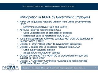 Participation in NCMA by Government Employees