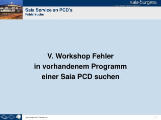 Saia Service an PCD's Fehlersuche