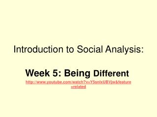 Introduction to Social Analysis: