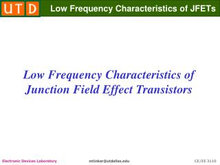 Low Frequency Characteristics of JFETs