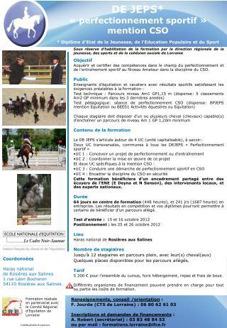 Renseignements, conseil /orientation  : F. Jourde (CTS de Lorraine) : 06 80 62 61 03