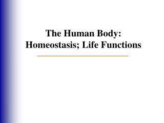 The  Human Body: Homeostasis; Life Functions