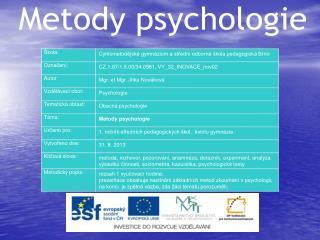 Metody psychologie