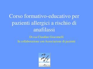 Corso formativo-educativo per pazienti allergici a rischio di anafilassi
