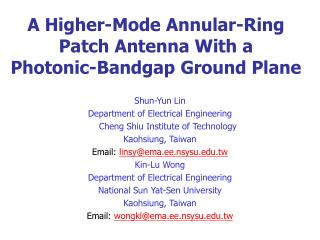A Higher-Mode Annular-Ring Patch Antenna With a  Photonic-Bandgap Ground Plane