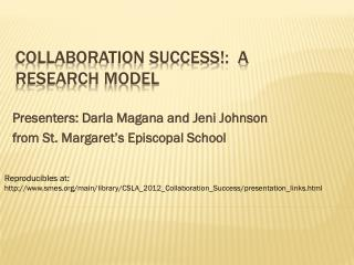 Collaboration Success!:  A Research Model