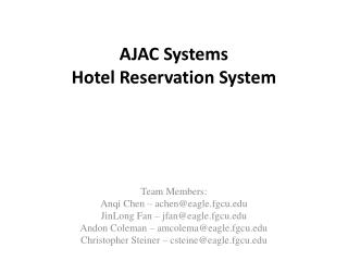 AJAC Systems Hotel Reservation System