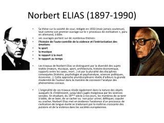 Norbert ELIAS (1897-1990)