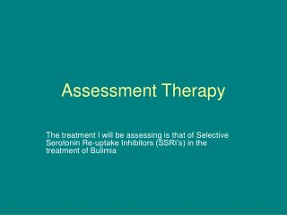 Assessment Therapy