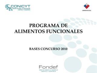 PROGRAMA DE  ALIMENTOS FUNCIONALES