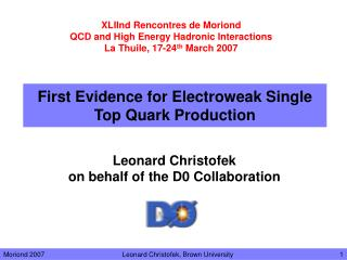 First Evidence for Electroweak Single Top Quark Production
