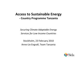 Access to Sustainable Energy - Country Programme Tanzania