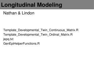 Longitudinal Modeling