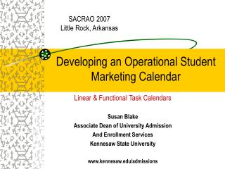 Developing an Operational Student Marketing Calendar