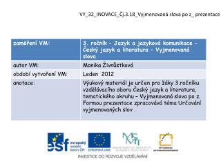 VY_32_INOVACE_Čj.3.18_Vyjmenovaná  slova  po  z _ prezentace