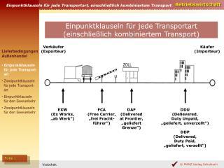 Einpunktklauseln für jede Transportart, einschließlich kombiniertem Transport