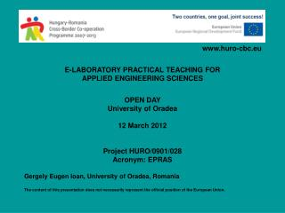 E-LABORATORY PRACTICAL TEACHING FOR APPLIED ENGINEERING SCIENCES OPEN DAY University of Oradea