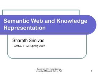 Semantic Web and Knowledge Representation