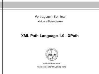 Vortrag zum Seminar XML und Datenbanken