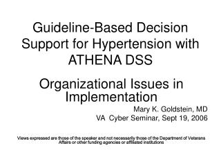 Guideline-Based Decision Support for Hypertension with ATHENA DSS