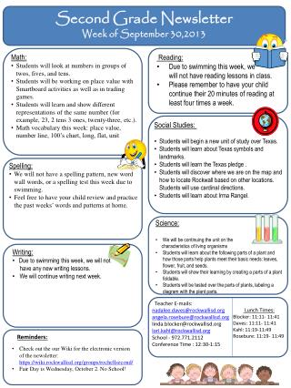 Second Grade Newsletter Week of  September 30,2013