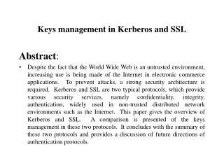 Keys management in Kerberos and SSL