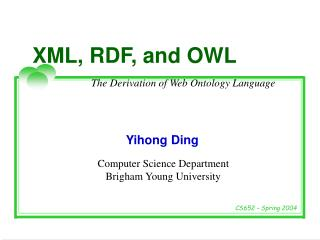 XML, RDF, and OWL