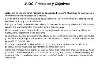 JUDO. Principios y Objetivos