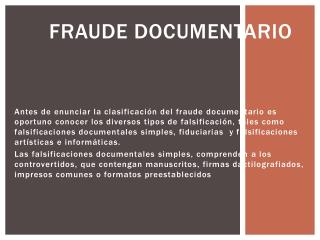 FRAUDE DOCUMENTARIO