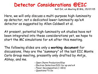 Detector Considerations @EIC