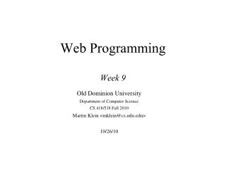 Web Programming Week 9