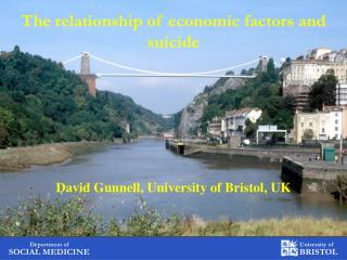 The relationship of economic factors and suicide David Gunnell, University of Bristol, UK