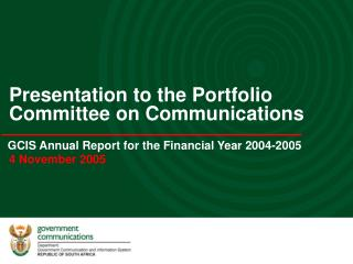 GCIS Annual Report for the Financial Year 2004-2005