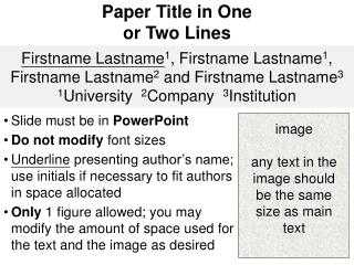 Paper Title in One or Two Lines