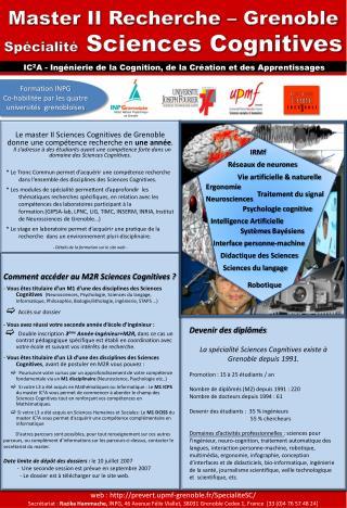 Master II Recherche – Grenoble Spécialité  Sciences Cognitives