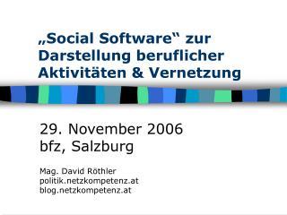 """""""Social Software"""" zur Darstellung beruflicher Aktivitäten & Vernetzung"""