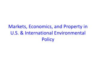 Markets, Economics, and Property in U.S. & International Environmental Policy