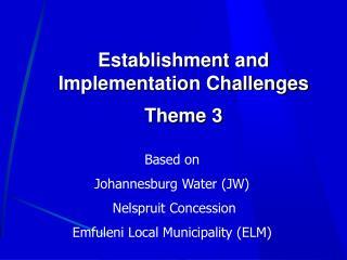 Establishment and Implementation Challenges Theme 3