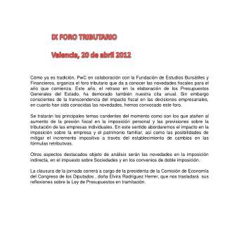 IX FORO TRIBUTARIO   Valencia, 20 de abril 2012