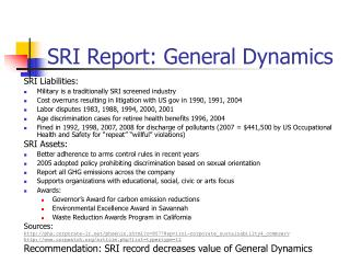 SRI Report: General Dynamics
