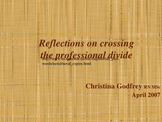 Reflections on crossing  the professional divide