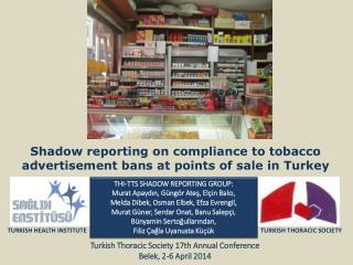 Shadow reporting on compliance to tobacco advertisement bans at points of sale in  Turkey