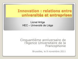 Innovation : relations entre universités et entreprises