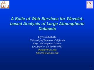 A Suite of Web-Services for Wavelet-based Analysis of Large Atmospheric Datasets