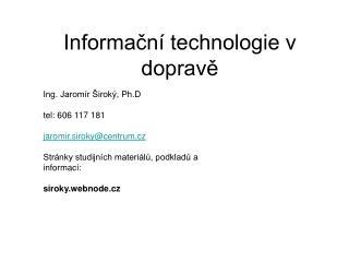 Informační technologie v dopravě