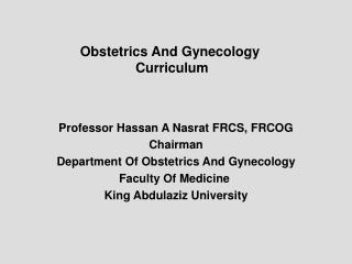 Obstetrics And Gynecology  Curriculum