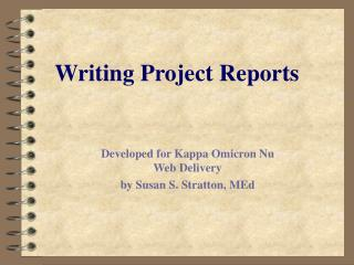 Writing Project Reports