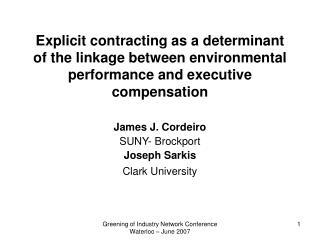 James J. Cordeiro SUNY- Brockport Joseph Sarkis Clark University