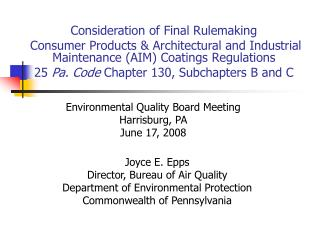 Consideration of Final Rulemaking