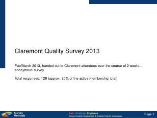Claremont Quality Survey 2013